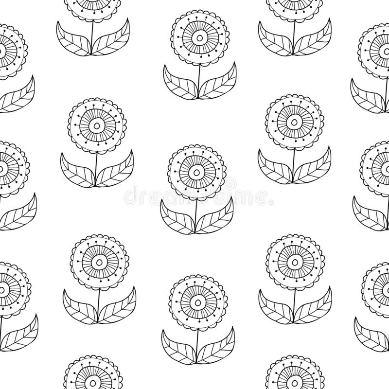 Vector black and white doodle flowers pattern with abstract floral flowers. Black and white hand-drawn flower seamless royalty free illustration