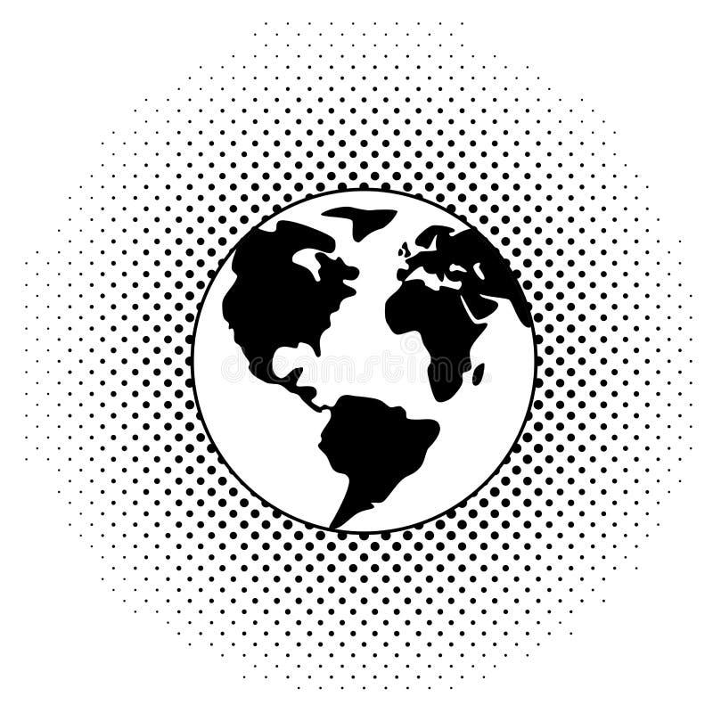 vector black and white earth globe vector illustration