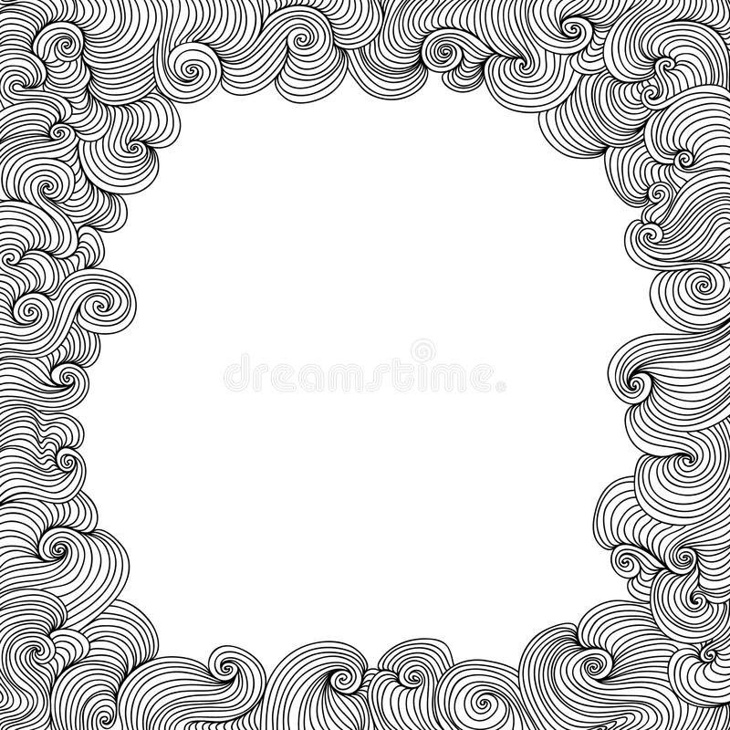 Download Vector Black And White Figured Frame With Curling Lines Stock Vector - Illustration of invitation, cadre: 77395015