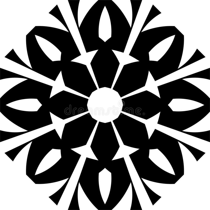 Vector Black and white flowered abstract geometrical mandala pattern. stock illustration