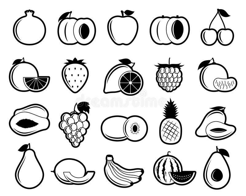 Vector Black and White Fruits Icons royalty free illustration