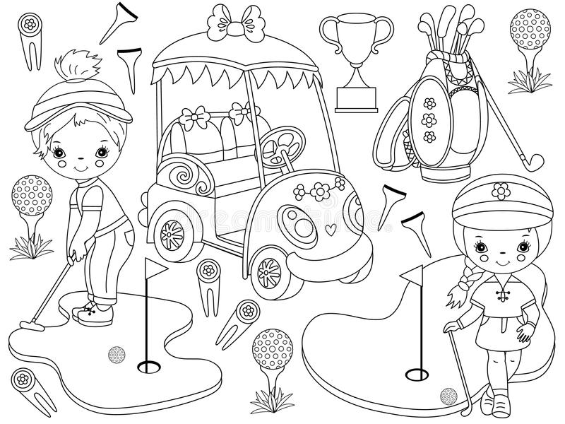 Vector Golf Set with Cute little Girls Playing Golf and Golf Accessories vector illustration
