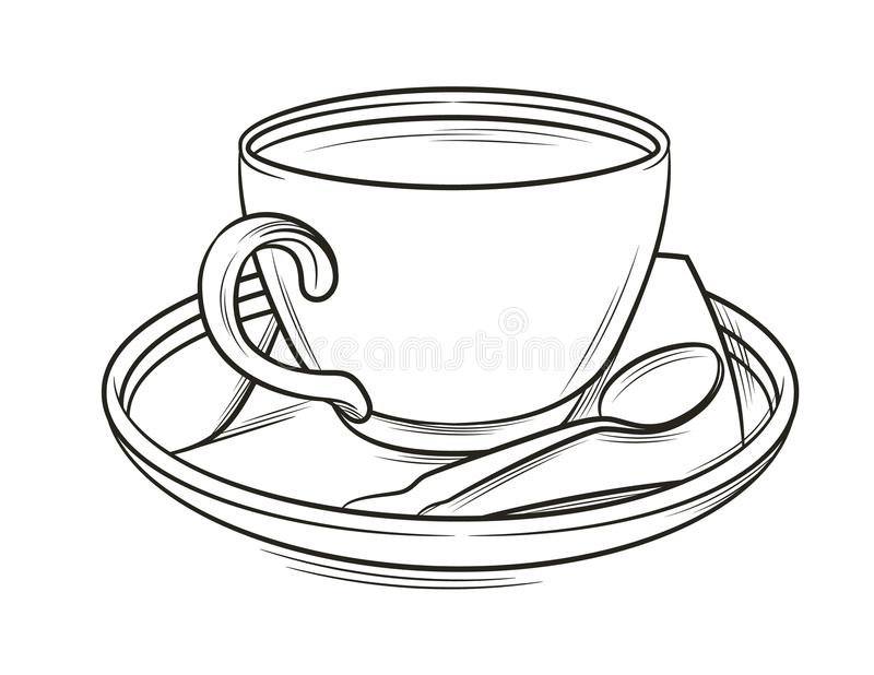Vector black and white graphic illustration of a coffee cup with plate and spoon. stock illustration
