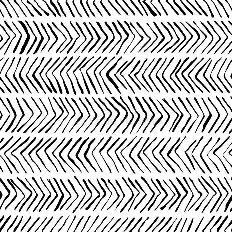 Vector black white herringbone seamless pattern. Watercolor, ink background. Scandinavian design, fashion textile print royalty free illustration