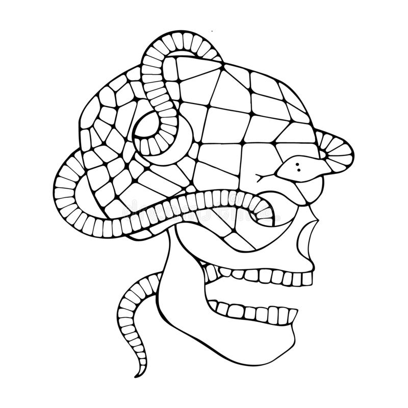 Vector black and white hand drawn illustration, skull with snake, tooth, silhouette face of human Print horror for t shirt Mexican stock illustration