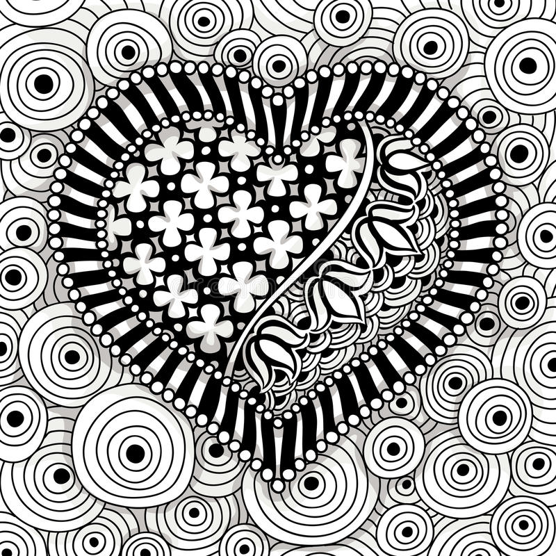 Vector black and white heart pattern vector illustration