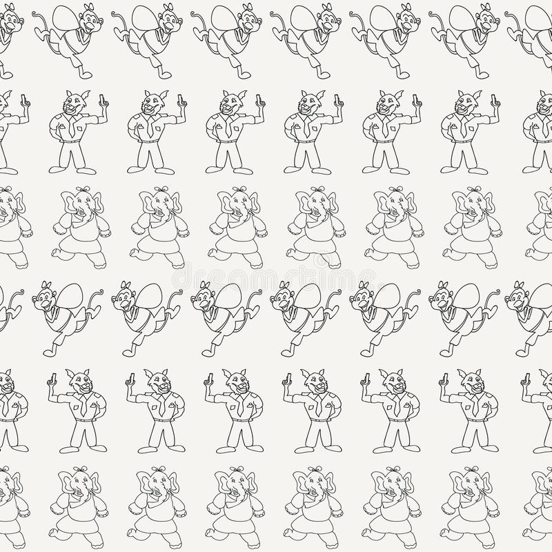 Vector black and white horizontal anthropomorphic cartoon characters seamless pattern background. Perfect for wallpaper, fabrics, gift wrapper, home decor royalty free illustration