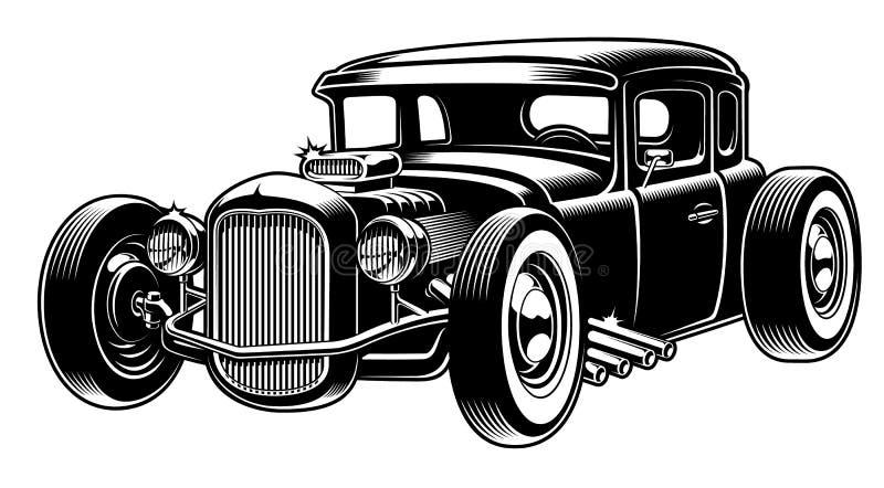 Vector black and white illustration of hot rod vector illustration