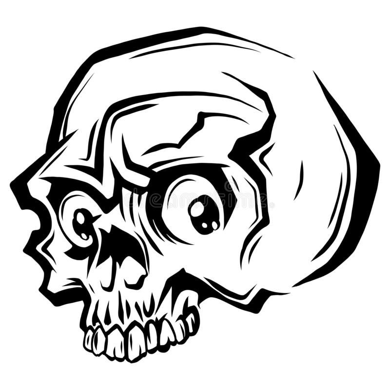 Vector black and white illustration of human skull with a lower jaw in ink hand drawn style. stock illustration