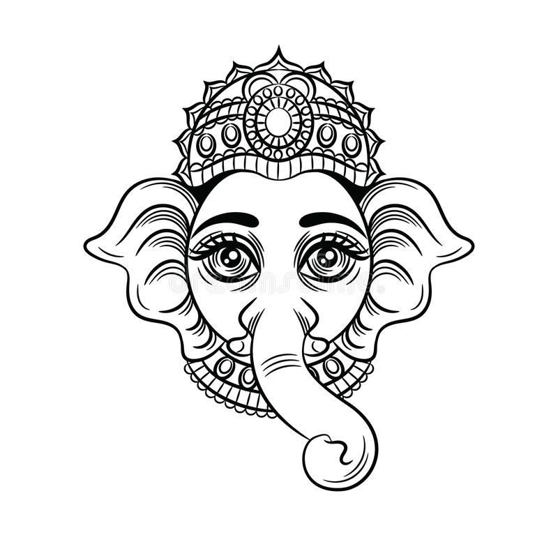 Vector black white illustration of an indian god with an elephant head. royalty free illustration