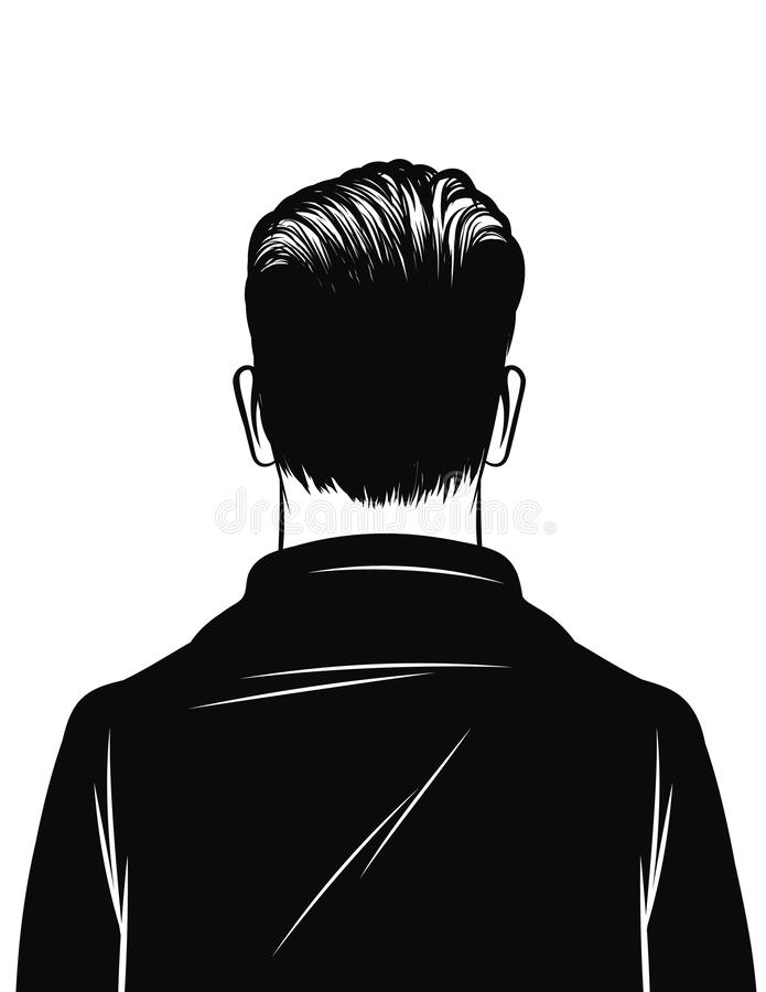 Vector black and white illustration of a man rear view isolated on white background. Silhouette of a man. Stylish man with hair stock illustration