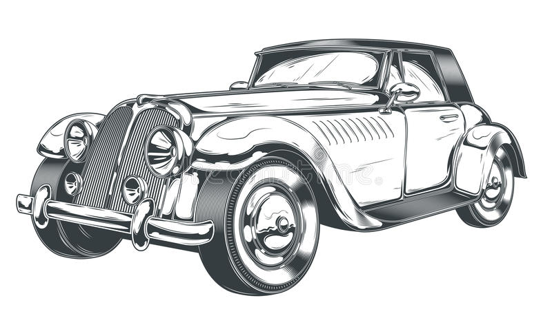 Vector black and white illustration of retro car in engraving style. Isolated on white background. Print, template, design element royalty free illustration