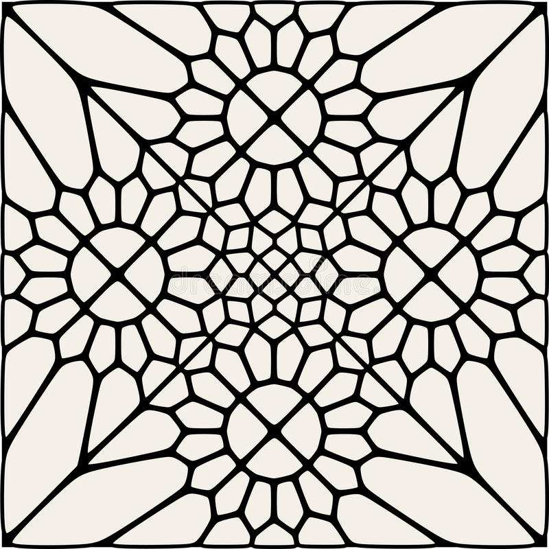 Vector Black And White Mandala Lace Ornament Mosaic royalty free illustration