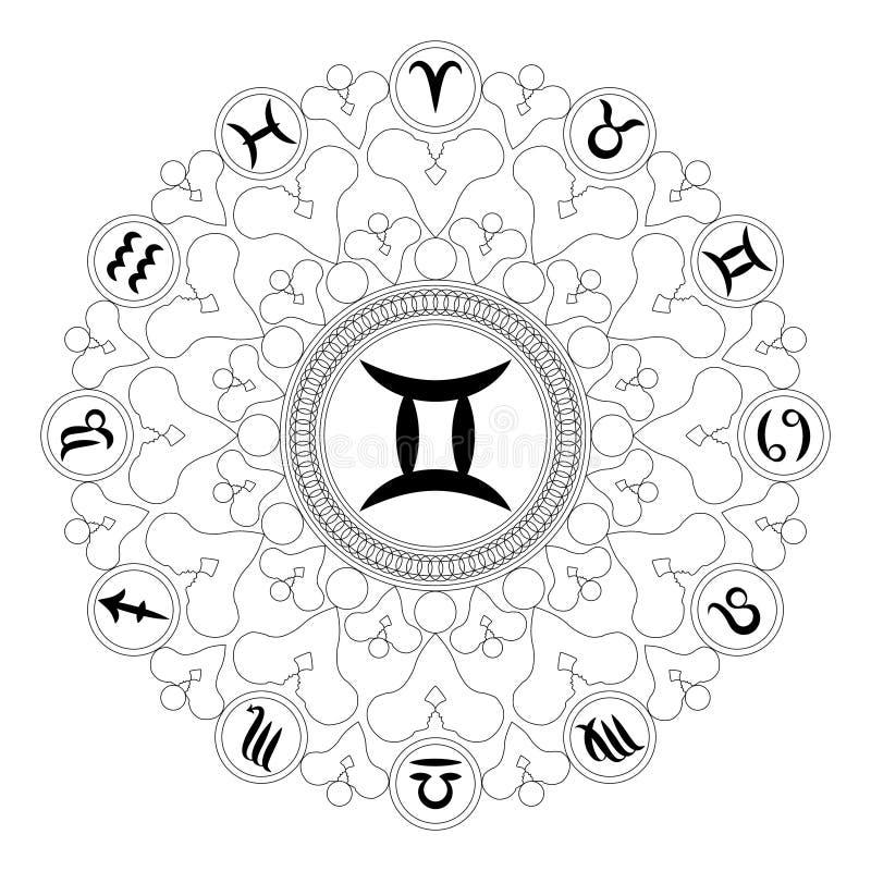 Vector Black And White Mandala With Zodiac Symbol Of