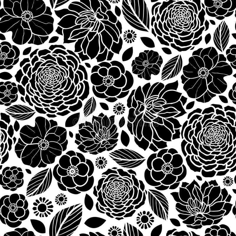 Vector Black And White Mosaic Flowers Seamless Repeat ...