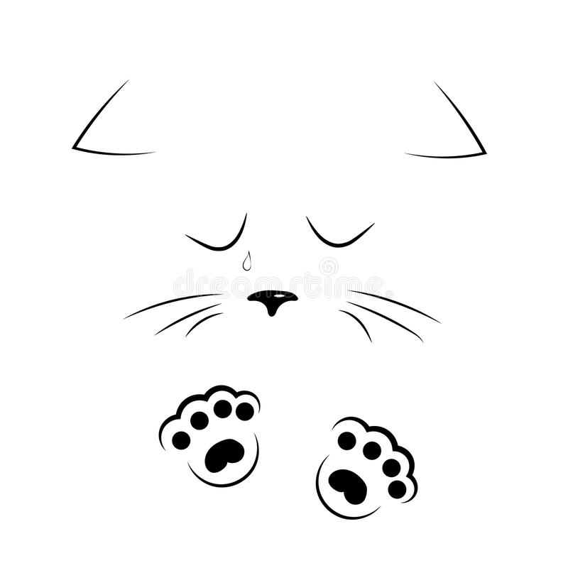 Vector Black And White Outline Drawing Sad Cat Face With ...  Vector Black An...
