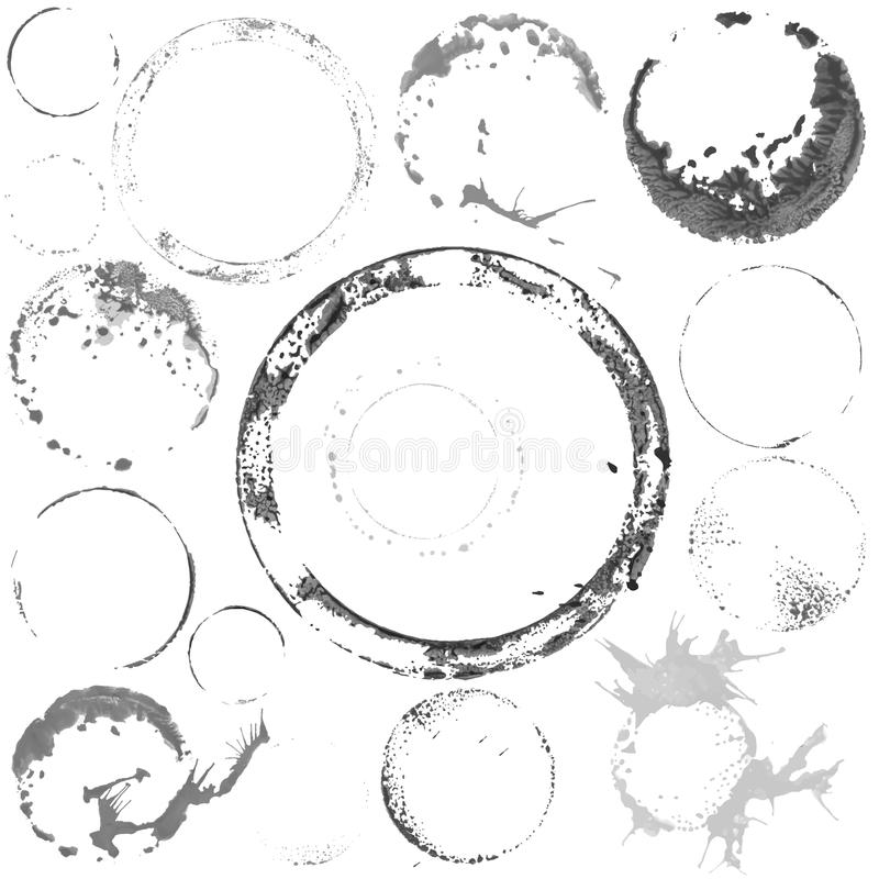 Vector black and white paint circles. Vector Set of Black and White Grunge Watercolor Paint Circles Stamps royalty free illustration