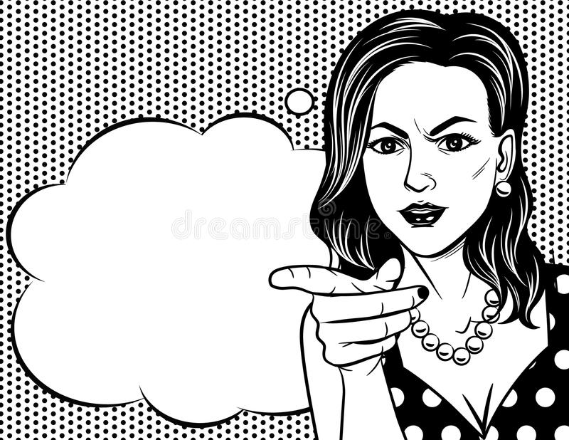 Vector Black and white poster of woman`s face in pop art style over dot pattern background. royalty free illustration