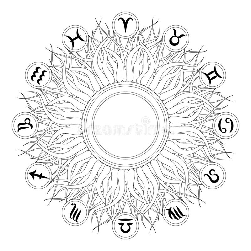 Vector black and white round geometric mandala with twelve zodiac symbols - adult coloring book page - sun design vector illustration