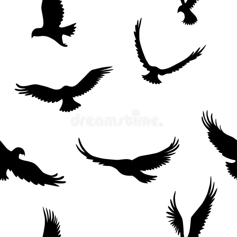 Vector black and white seamless pattern with eagles vector illustration