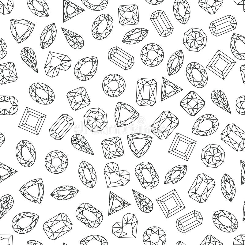 Vector black white seamless pattern with line gems and jewels. Linear diamonds with different cut, monochrome background vector illustration