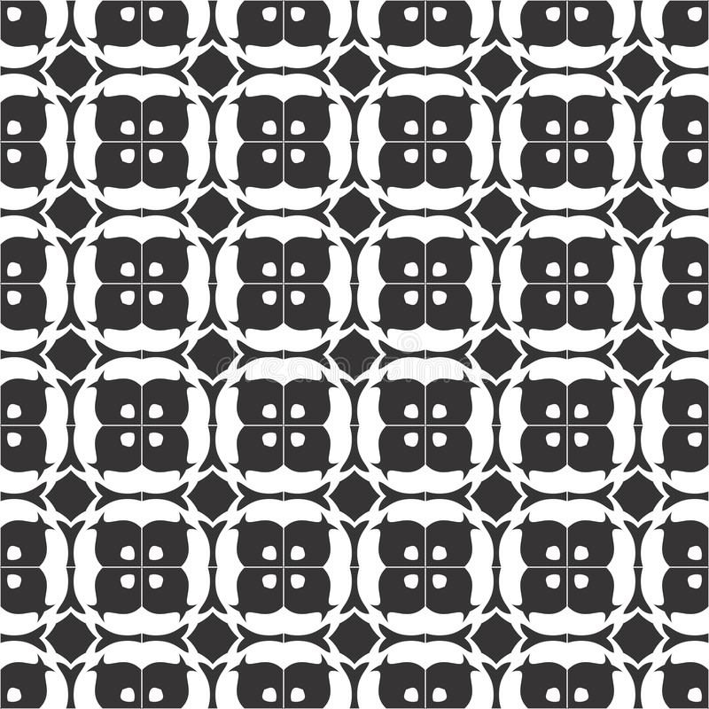 Vector Black and white seamless pattern, repeatable stock illustration