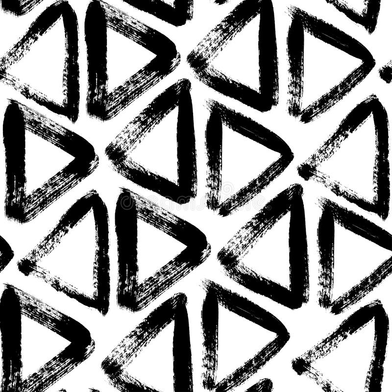 Vector black and white seamless pattern with triangles. Traced watercolor. royalty free illustration