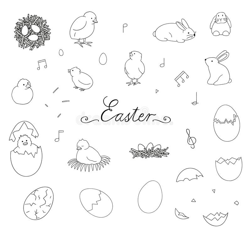 Vector black and white set of Easter elements vector illustration