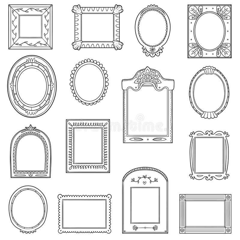 Vector black and white set of frames. Hand drawn cartoon frames vector illustration