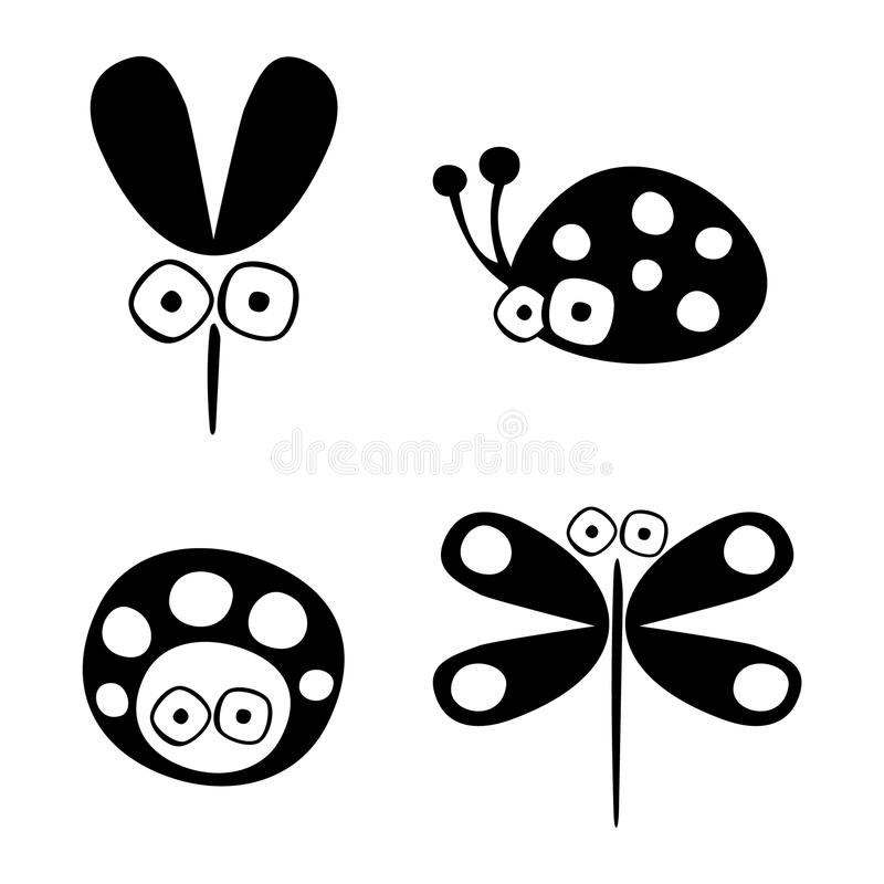 Vector black and white set of hand drawn ladybug, mosquito, and dragonfly. On the white background vector illustration