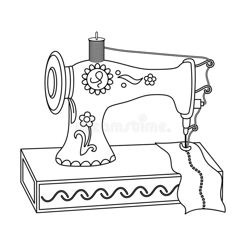 Vector black and white sewing machine stock vector for Arts and crafts sewing machine