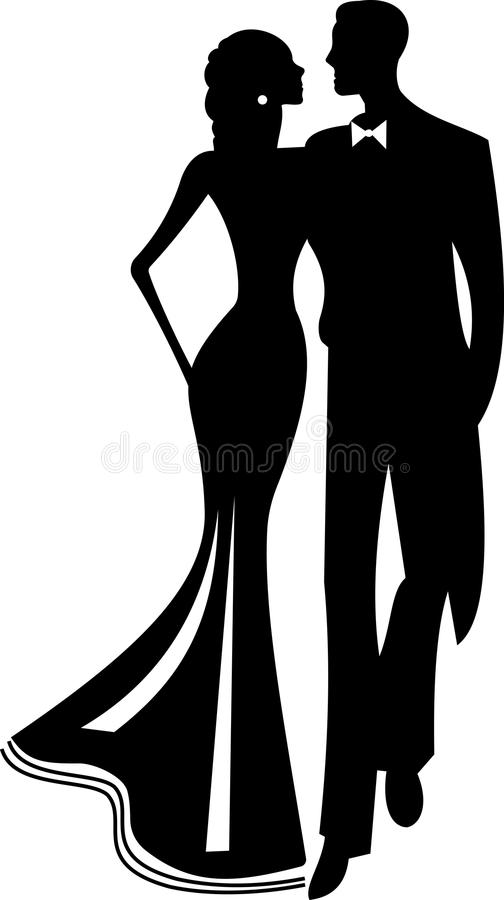 Vector black and white silhouette of a couple in love vector illustration