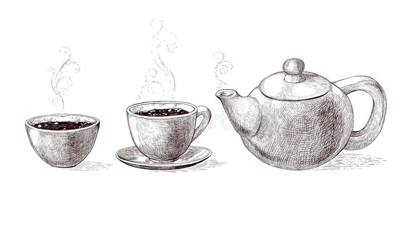 Vector black and white sketch illustration of fresh brewed hot and flavored morning coffee and tea from teapot in cup vector illustration