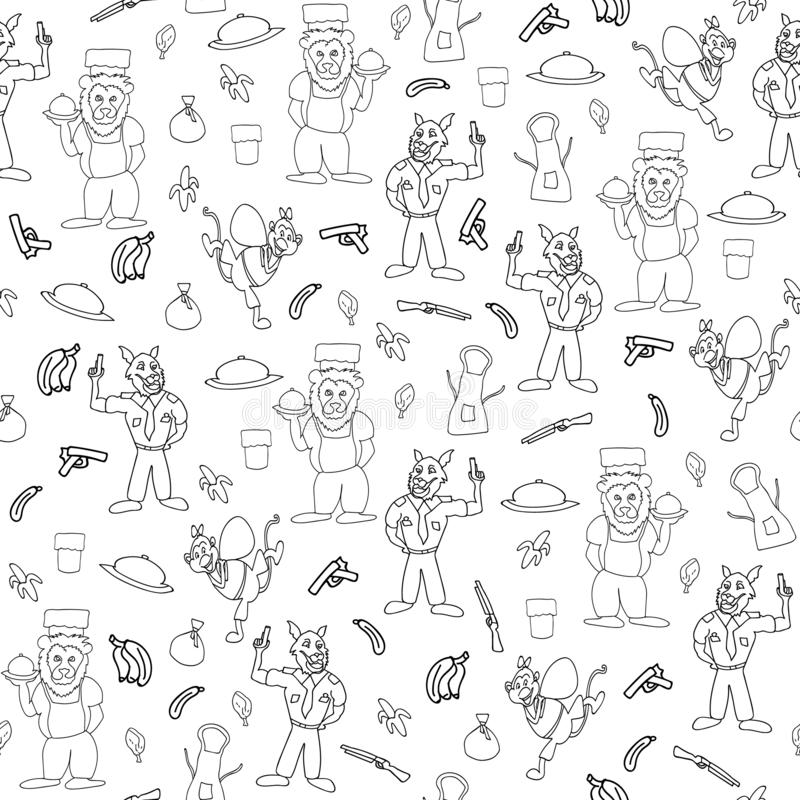 Vector black and white sketchy anthromorphic cartoon characters seamless pattern background vector illustration