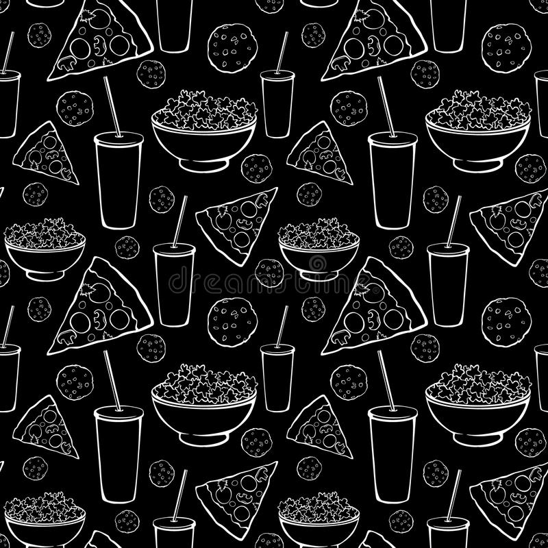 Vector Black White Sleepover Movie Night Party. Food Seamless Pattern. Pizza Drink Cookie Popcorn Snack Graphic design stock illustration