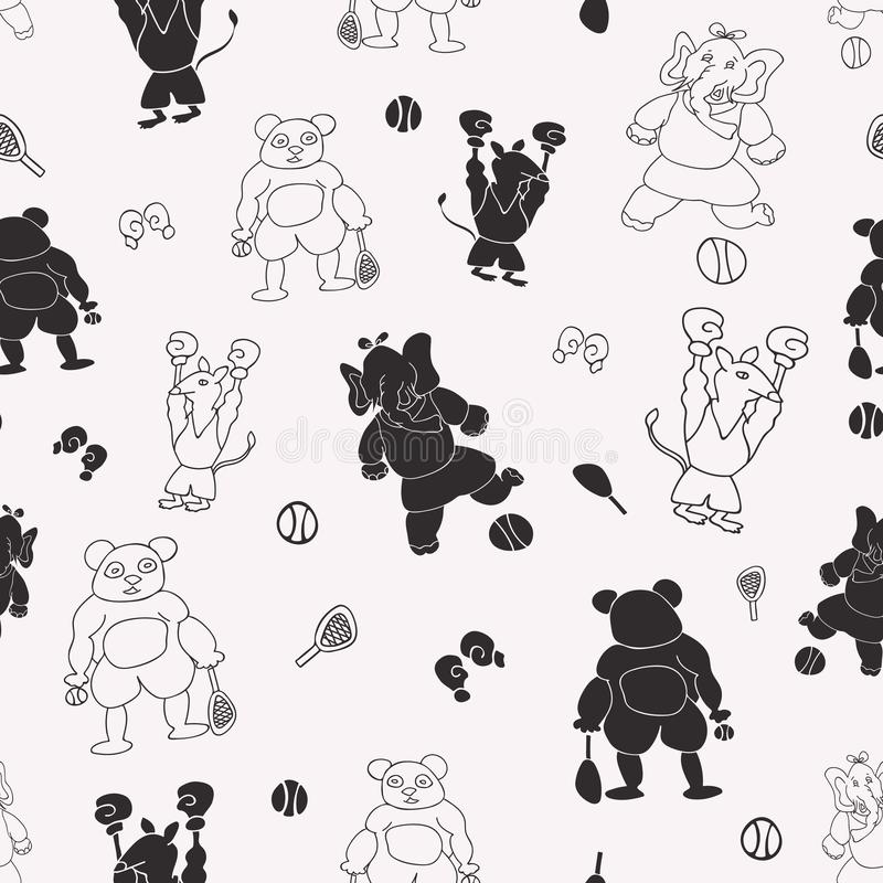 Vector black and white sporty anthromorphic cartoon characters seamless pattern background royalty free illustration