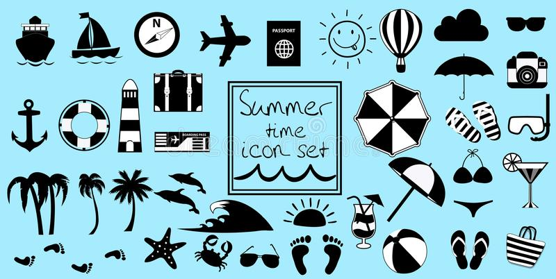 Vector black and white summer travel or vacation beach big icon set stock illustration