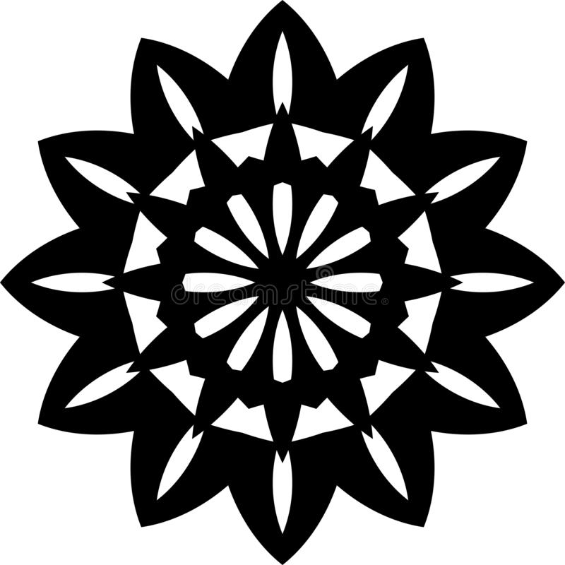 Vector black and white Sunflower geometrical mandala design or pattern. vector illustration