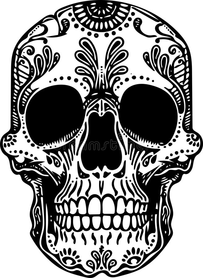 Vector Black and White Tattoo mexican Skull Illustration royalty free illustration