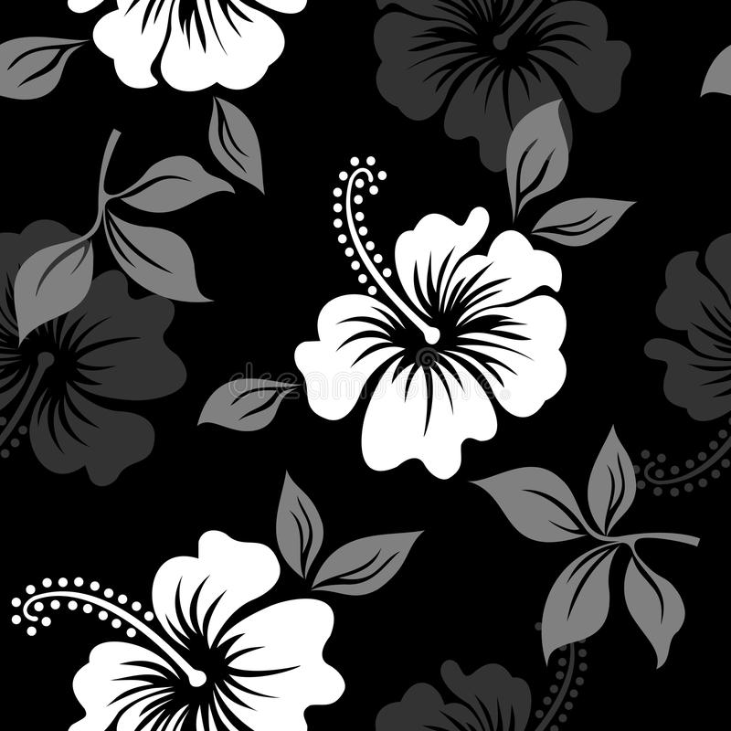 Download vector black and white tropical summer hawaiian seamless pattern with tropical hibiscus flowers stock vector