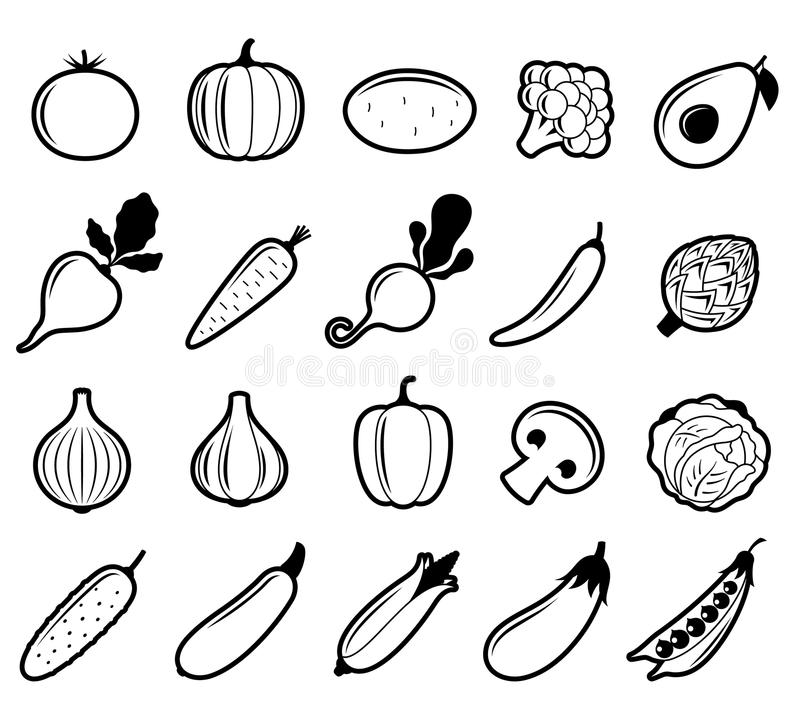Vector Black and White Vegetables Icons vector illustration