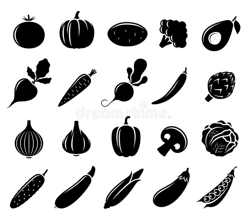 Vector Black and White Vegetables Icons royalty free illustration