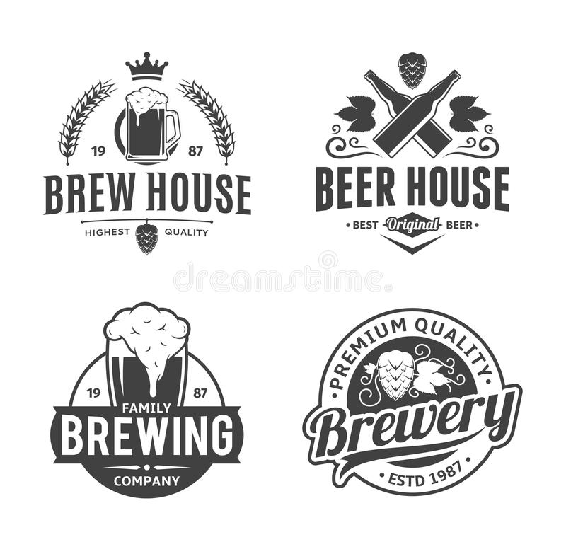 Vector black and white vintage beer logo, icons and design elements royalty free illustration