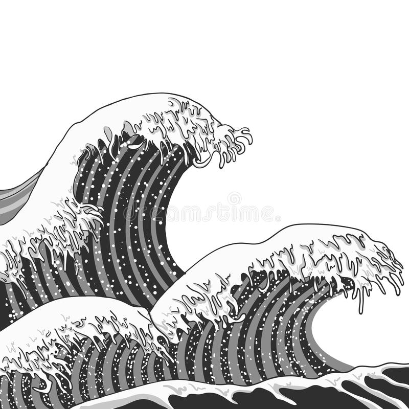 Vector Black and White Waves Engraving Illustration. Hand Drawn Waves vector illustration