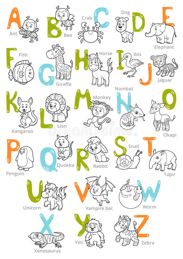 Vector black and white zoo alphabet with cute animals royalty free illustration