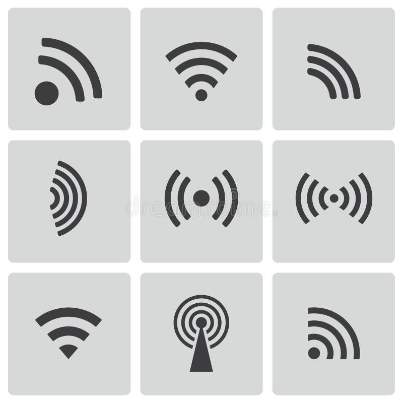 Vector black wireless icons set vector illustration