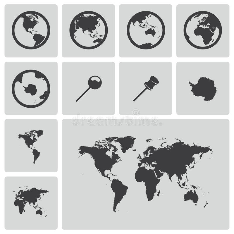Vector black world map icons set stock vector illustration of download vector black world map icons set stock vector illustration of earth geography gumiabroncs Images