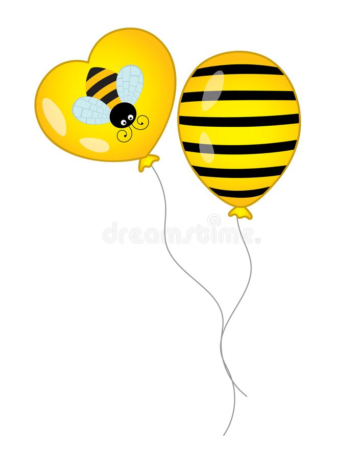 Vector Black and Yellow Balloons with Stripes and Bee Image. Vector balloons. Balloons vector illustration royalty free illustration