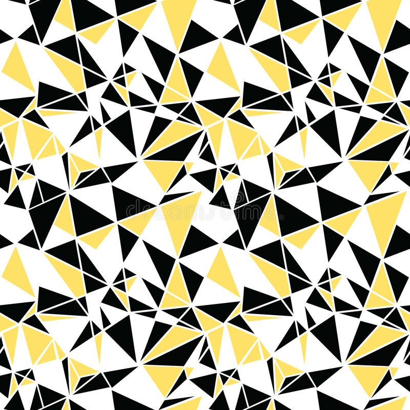 Vector Black And Yellow Triangles Abstract Seamless Repeat Pattern