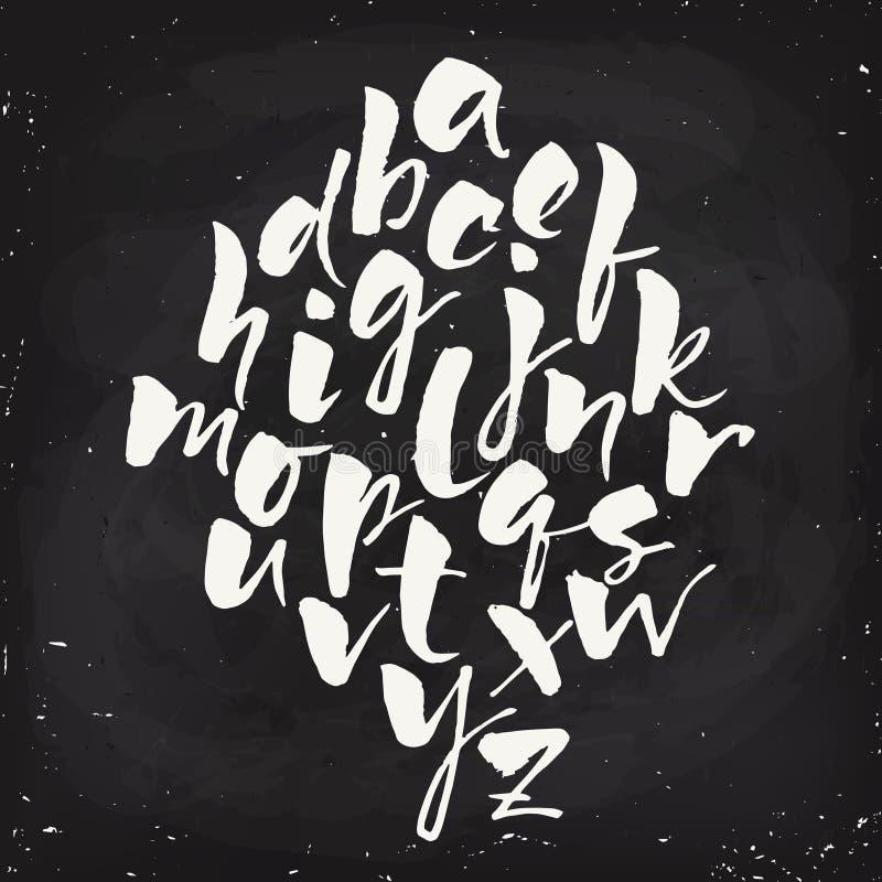 Vector modern calligraphic hand written alphabet set. Vector blackboard modern style hand written alphabet . Grunge style. Modern calligraphy. Brush pen alphabet royalty free illustration